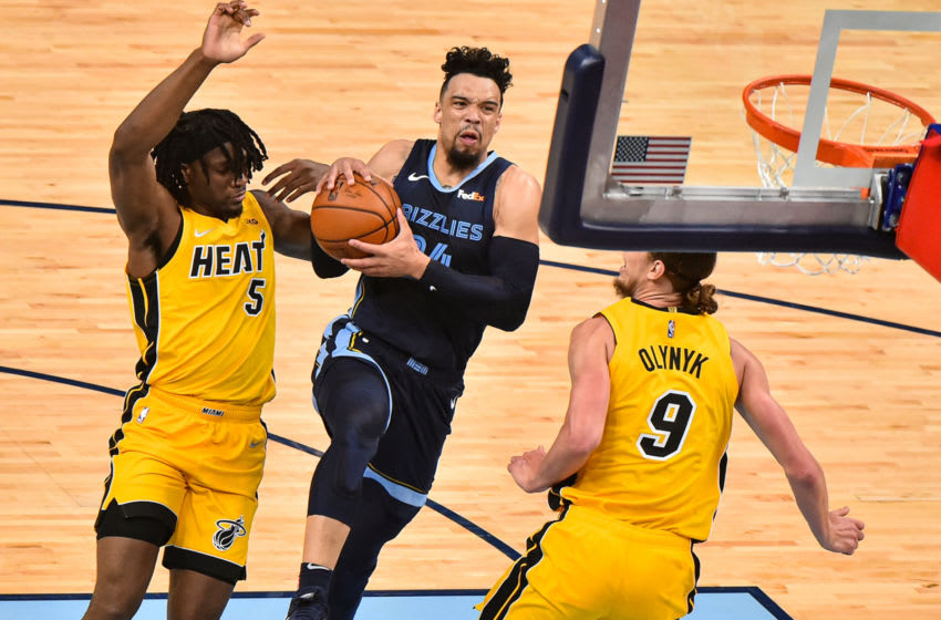 Memphis Grizzlies guard Dillon Brooks (24) goes to the basket against Miami Heat forward Precious Achiuwa (5) (Justin Ford-USA TODAY Sports)