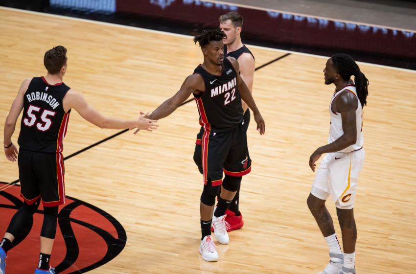 Miami Heat forward Jimmy Butler (22) celebrates with guard Duncan Robinson (55) (Mary Holt-USA TODAY Sports)