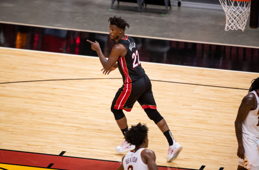 Miami Heat forward Jimmy Butler (22) celebrates a made shot during the fourth quarter of a game against the Cleveland Cavaliers (Mary Holt-USA TODAY Sports)