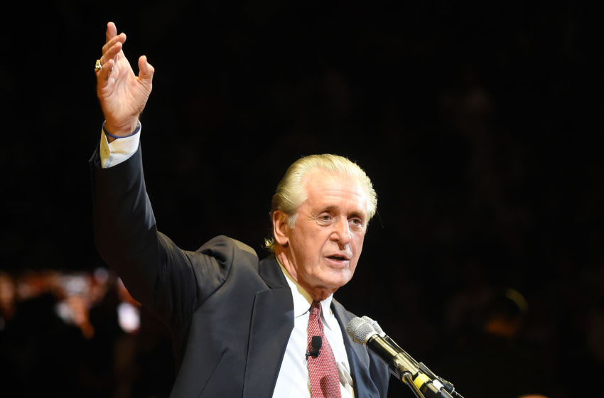 Miami Heat president Pat Riley honors former center Shaquille O'Neal Jersey number (32) retirement banner is raised into the rafters at the American Airlines Arena (Steve Mitchell-USA TODAY Sports)
