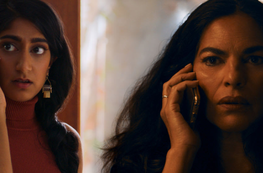 Sunita Mani as Pallavi and Sarita Choudhury as Usha in EVIL EYE. Image Courtesy Blumhouse Television and Amazon Studios