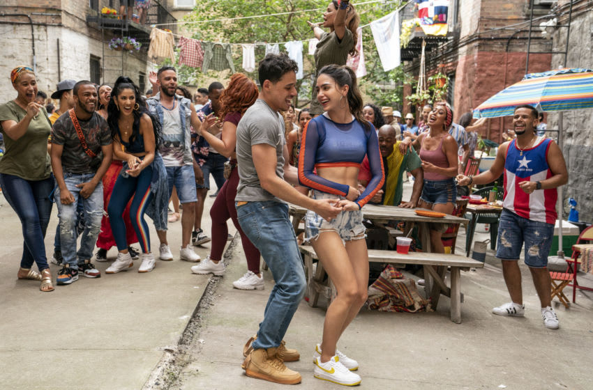 """In the Heights (Left Center-Right Center) ANTHONY RAMOS as Usnavi and MELISSA BARRERA as Vanessa in Warner Bros. Pictures' """"IN THE HEIGHTS,"""" a Warner Bros. Pictures release. Photo credit: Macall Polay"""
