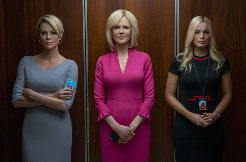 Megyn Kelly (Charlize Theron, left), Gretchen Carlson (Nicole Kidman, center), and Kayla Pospisil (Margot Robbie, right) in BOMBSHELL. Photo credit: Hilary Bronwyn Gayle SMPSP