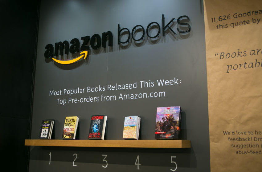 SEATTLE, WA - NOVEMBER 5: Online giant, Amazon.com, has opened its first 'brick and mortar' retail bookstore as viewed on November 5, 2015, in Seattle, Washington. The store. called Amazon Books, is located in the upscale University Village shopping mall adjacent to the University of Washington. (Photo by George Rose/Getty Images)