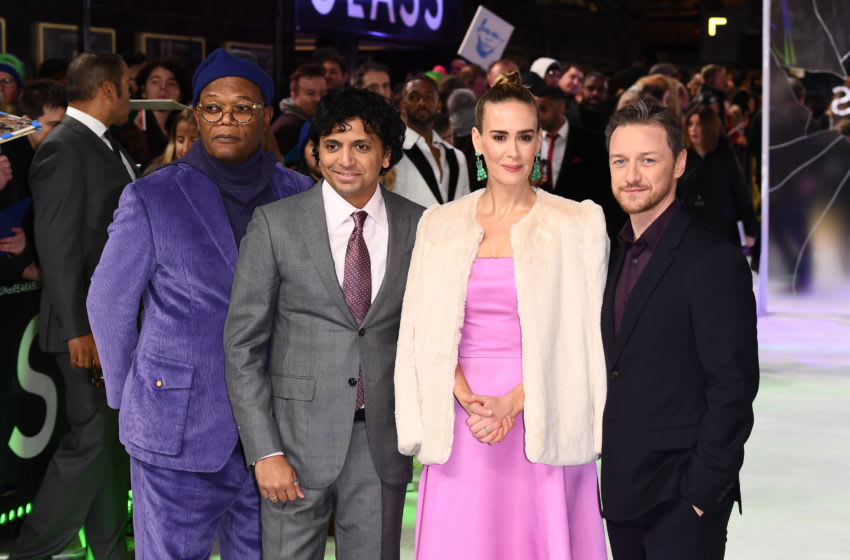 LONDON, ENGLAND - JANUARY 09: (L-R) Samuel L. Jackson, M. Night Shyamalan, Sarah Paulson and James McAvoy attend the UK Premiere of