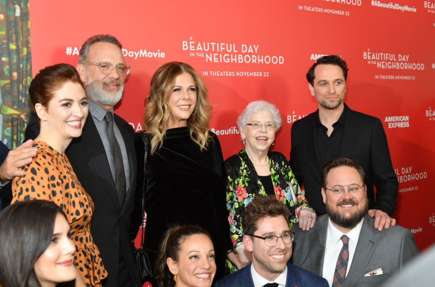 NEW YORK, NEW YORK - NOVEMBER 17: Marielle Heller, Tom Hanks, Rita Wilson, Leah Holzer, Joanne Rogers, Micah Fitzerman-Blue, Noah Harpster and Matthew Rhys attend