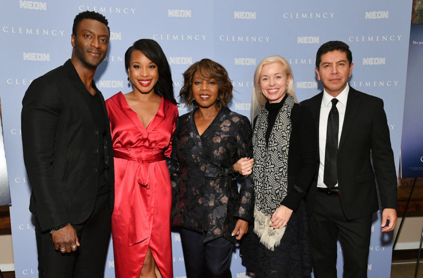 NEW YORK, NEW YORK - DECEMBER 09: (L-R) Aldis Hodge, writer/director Chinonye Chukwu, Alfre Woodard, producer Bronwyn Cornelius, and Alex Castillo attend the
