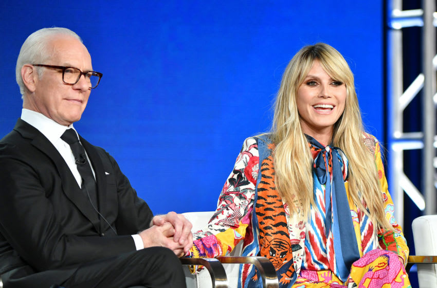PASADENA, CALIFORNIA - JANUARY 14: Tim Gunn and Heidi Klum of Amazon Prime's 'Making the Cut' speak onstage during the 2020 Winter TCA Tour Day 8 at The Langham Huntington, Pasadena on January 14, 2020 in Pasadena, California. (Photo by Amy Sussman/Getty Images)