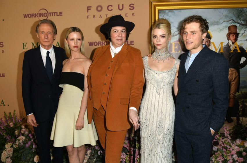 LOS ANGELES, CALIFORNIA - FEBRUARY 18: (L-R) Bill Nighy, Mia Goth, Autumn de Wilde, Anya Taylor-Joy and Johnny Flynn attend the premiere of Focus Features'