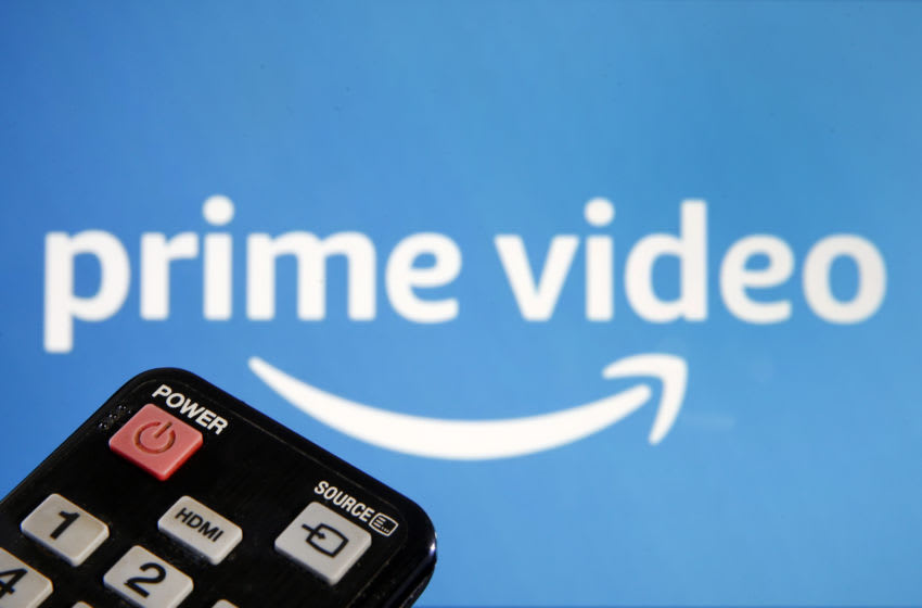 PARIS, FRANCE - MARCH 28: In this photo illustration, a remote control is seen in front of a television screen showing a Prime Video logo on March 28, 2020 in Paris, France. Due to the coronavirus epidemic that is currently affecting the entire world, the Amazon Prime Video video streaming platform is joining Netflix and YouTube in reducing its bandwidth usage. (Photo Illustration by Chesnot/Getty Images)