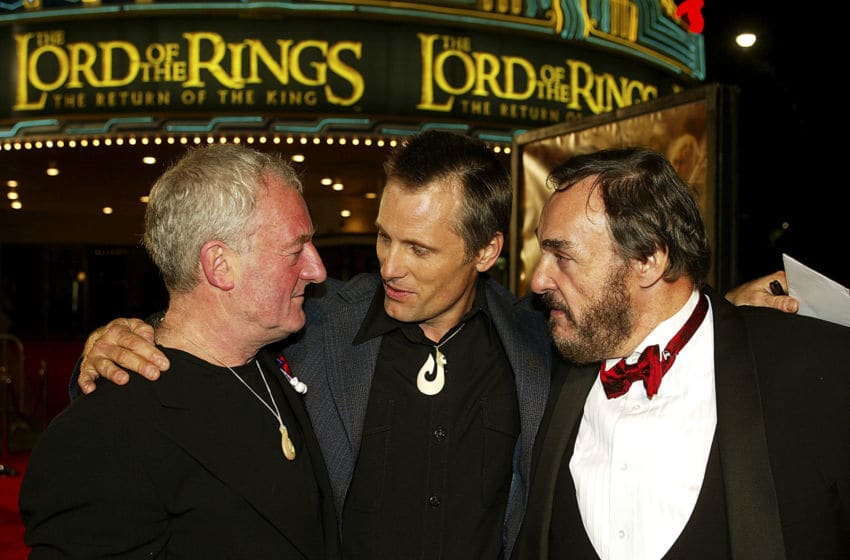 LOS ANGELES - DECEMBER 3: Actors (from left to right) Bernard Hill, John Rhys-Davies and Viggo Mortensen pose at the premiere of
