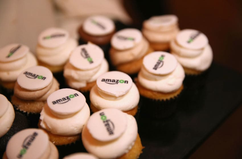 BEVERLY HILLS, CA - JANUARY 10: Cupcakes topped with the Amazon logo are displayed at Amazon's Golden Globe Awards Celebration at The Beverly Hilton Hotel on January 10, 2016 in Beverly Hills, California. (Photo by Rachel Murray/Getty Images for Amazon Studios)