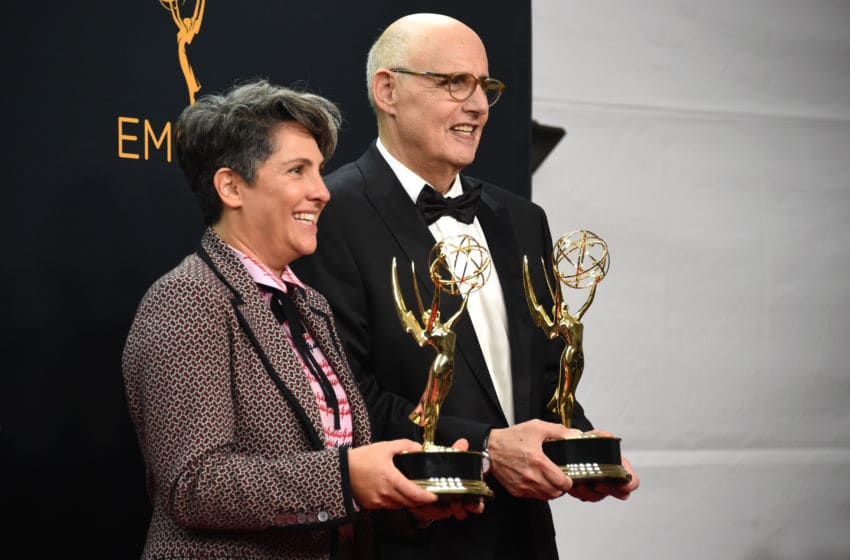 LOS ANGELES, CA - SEPTEMBER 18: Director Jill Soloway (L), winner of Outstanding Directing for a Comedy Series for the 'Transparent' episode 'Man on the Land' and actor Jeffrey Tambor (R), winner of Outstanding Lead Actor in a Comedy Series for 'Transparent,' pose in the press room at the 68th Annual Primetime Emmy Awards at Microsoft Theater on September 18, 2016 in Los Angeles, California. (Photo by Michael Kovac/Getty Images for AXN)