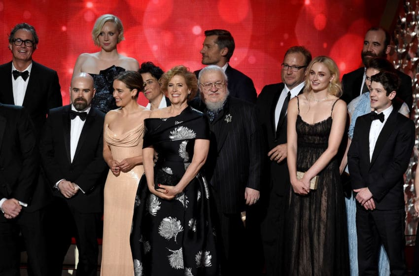LOS ANGELES, CA - SEPTEMBER 18: Writer George R.R. Martin (C) with cast and production team accept Outstanding Drama Series for 'Game of Thrones' onstage during the 68th Annual Primetime Emmy Awards at Microsoft Theater on September 18, 2016 in Los Angeles, California. (Photo by Kevin Winter/Getty Images)