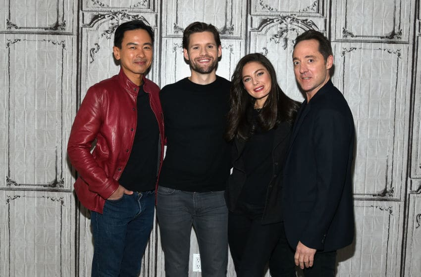 NEW YORK, NY - DECEMBER 15: (L-R) Actors Joel de la Fuente, Luke Kleintank, Alexa Davalos and Brennan Brown attend AOL Build to discuss the the hit show 'The Man in the High Castle' at AOL HQ on December 15, 2016 in New York City. (Photo by Ben Gabbe/Getty Images)