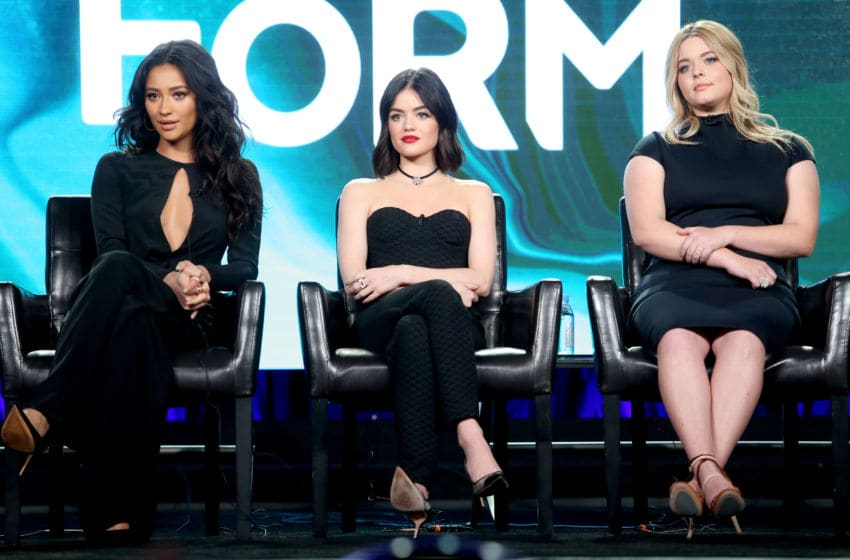 PASADENA, CA - JANUARY 10: (L-R) Actresses Shay Mitchell, Lucy Hale, and Sasha Pieterse of the television show 'Pretty Little Liars' speak onstage during the Disney-ABC portion of the 2017 Winter Television Critics Association Press Tour at Langham Hotel on January 10, 2017 in Pasadena, California. (Photo by Frederick M. Brown/Getty Images)