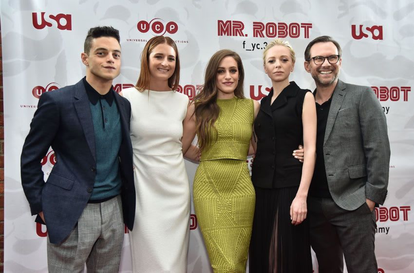 NEW YORK, NY - JUNE 08: Rami Malek, Grace Gummer, Carly Chaikin, Portia Doubleday and Christian Slater attend a 'Mr. Robot' FYC Screening at The Metrograph on June 8, 2017 in New York City. (Photo by Theo Wargo/Getty Images)