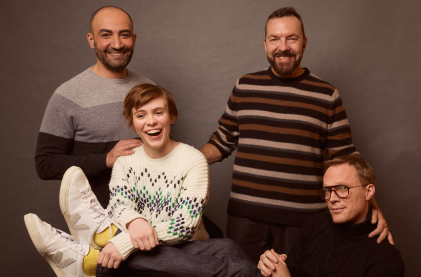 PARK CITY, UT - JANUARY 26: Peter Macdissi, Sophia Lillis, Alan Ball, and Paul Bettany from Uncle Frank pose for a portrait at the Pizza Hut Lounge on January 26, 2020 in Park City, Utah. (Photo by Emily Assiran/Getty Images for Pizza Hut)