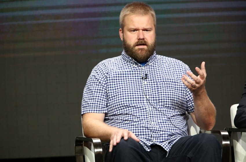 BEVERLY HILLS, CA - JULY 29: Writer Robert Kirkman of 'Visionaries: Robert Kirkman's Secret History of Comics Docuseries' speaks onstage during the AMC/Sundance TV portion of the 2017 Summer Television Critics Association Press Tour at The Beverly Hilton Hotel on July 29, 2017 in Beverly Hills, California. (Photo by Tommaso Boddi/Getty Images for AMC)