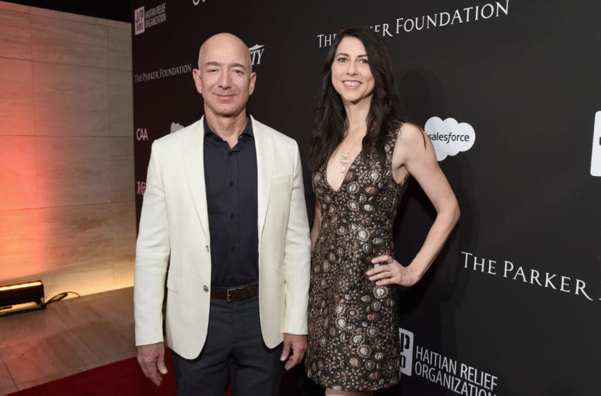 LOS ANGELES, CA - JANUARY 06: Chief Executive Officer of Amazon Jeff Bezos (L) and MacKenzie Bezos attend the 7th Annual Sean Penn & Friends HAITI RISING Gala benefiting J/P Haitian Relief Organization on January 6, 2018 in Hollywood, California. (Photo by Michael Kovac/Getty Images for for J/P HRO Gala)