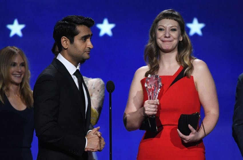 SANTA MONICA, CA - JANUARY 11: Actor/writer Kumail Nanjiani (L) and writer Emily V. Gordon accept Best Comedy for 'The Big Sick' onstage during The 23rd Annual Critics' Choice Awards at Barker Hangar on January 11, 2018 in Santa Monica, California. (Photo by Kevin Winter/Getty Images)