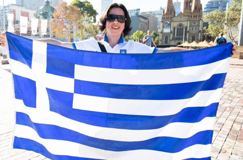 MELBOURNE, AUSTRALIA - JANUARY 24: Greek supporters show their support for Stefanos Tsitsipas of Greece ahead of his Semi Final match against Rafael Nadal of Spain during day 11 of the 2019 Australian Open at Melbourne Park on January 24, 2019 in Melbourne, Australia. (Photo by Jonathan DiMaggio/Getty Images)