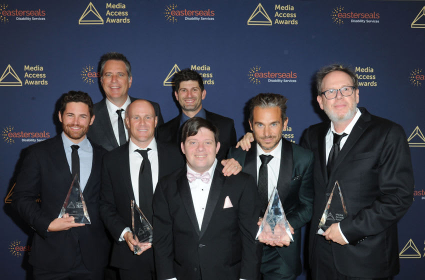 BEVERLY HILLS, CA - NOVEMBER 14: The Peanut Butter Falcon Crew: Tim Zajaros, David Thies, Christopher Lemole, Guest, Zack Gottsagen, Lije Sarki and Albert Berger attend the 40th Annual Media Access Awards In Partnership With Easterseals at The Beverly Hilton Hotel on November 14, 2019 in Beverly Hills, California. (Photo by Joshua Blanchard/Getty Images for Media Access Awards )