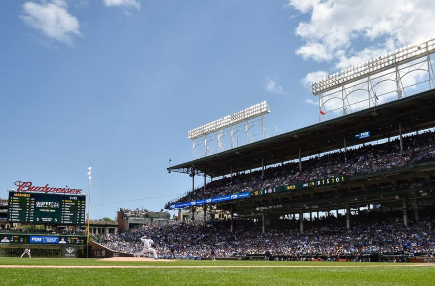 CHICAGO, ILLINOIS - SEPTEMBER 02: Starting pitcher Kyle Hendricks #28 of the Chicago Cubs delivers the ball in the first inning against the Seattle Mariners at Wrigley Field on September 02, 2019 in Chicago, Illinois. (Photo by Quinn Harris/Getty Images)