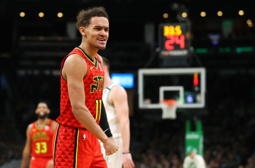 BOSTON, MASSACHUSETTS - JANUARY 03: Trae Young #11 of the Atlanta Hawks celebrates during the second quarter against the Boston Celtics at TD Garden on January 03, 2020 in Boston, Massachusetts. (Photo by Maddie Meyer/Getty Images)