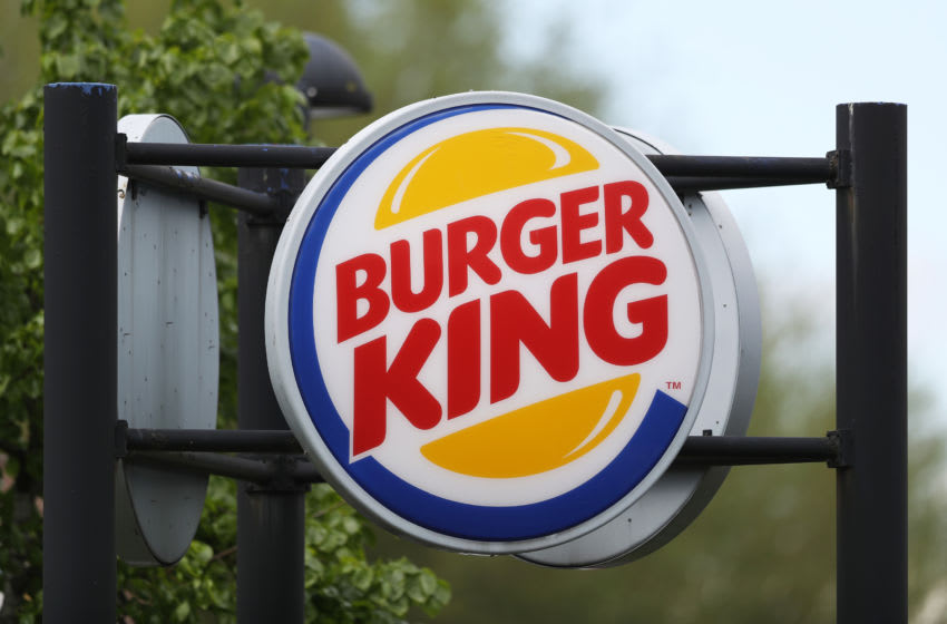 HAVANT, PORTSMOUTH - MAY 01: A general view of a sign for the Burger King drive-through in Havant, their first branch to reopen during coronavirus lockdown on May 01, 2020 in Havant, Portsmouth. British Prime Minister Boris Johnson, who returned to Downing Street this week after recovering from Covid-19, said the country needed to continue its lockdown measures to avoid a second spike in infections. (Photo by Naomi Baker/Getty Images)