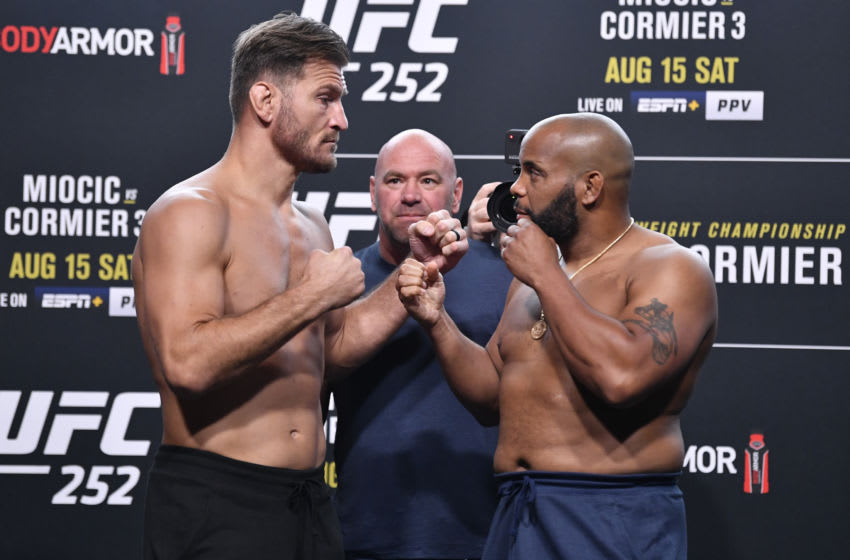LAS VEGAS, NEVADA - AUGUST 14: In this handout image provided by UFC, (L-R) Opponents Stipe Miocic and Daniel Cormier face off during the UFC 252 weigh-in at UFC APEX on August 14, 2020 in Las Vegas, Nevada. (Photo by Jeff Bottari/Zuffa LLC via Getty Images)