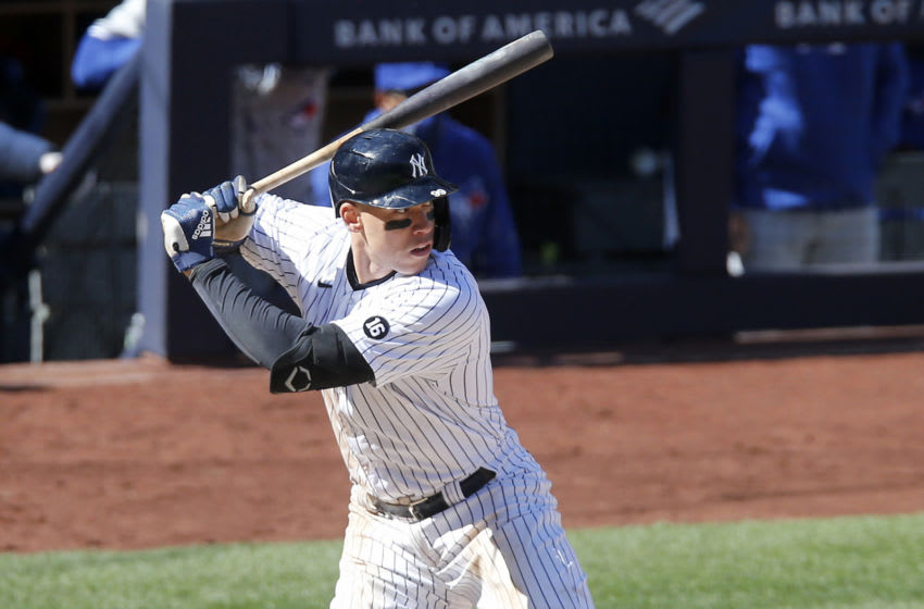 NEW YORK, NEW YORK - APRIL 03: (NEW YORK DAILIES OUT) Aaron Judge #99 of the New York Yankees in action against the Toronto Blue Jays at Yankee Stadium on April 03, 2021 in New York City. The Yankees defeated the Blue Jays 5-3. (Photo by Jim McIsaac/Getty Images)