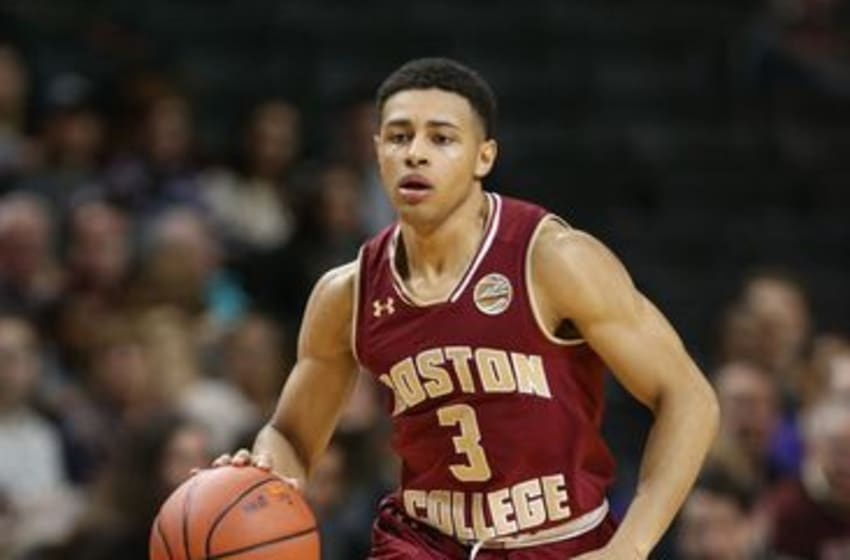 Nov 25, 2016; Brooklyn, NY, USA; Boston College Eagles guard Ty Graves (3) dribbles up court against the Kansas State Wildcats during the first half of the first game of the Barclays Center Classic at Barclays Center. Mandatory Credit: Vincent Carchietta-USA TODAY Sports