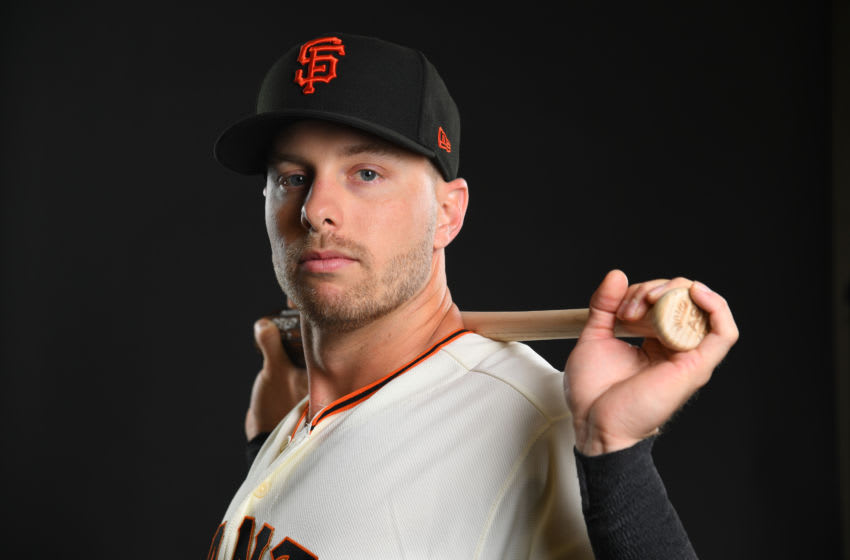 SCOTTSDALE, AZ - FEBRUARY 21: Austin Slater #53 of the San Francisco Giants poses during the Giants Photo Day on February 21, 2019 in Scottsdale, Arizona. (Photo by Jamie Schwaberow/Getty Images)