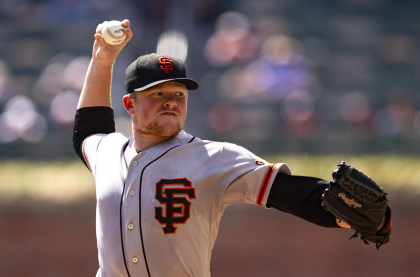 Logan Webb of the SF Giants. (Photo by Carmen Mandato/Getty Images)