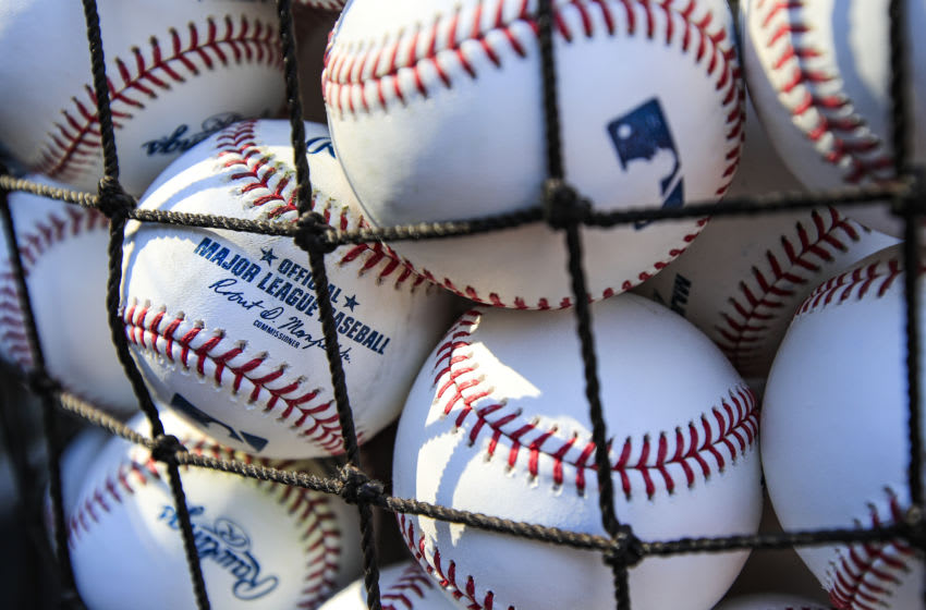 KANSAS CITY, MO - JULY 02: Baseballs on the field before the game between the Cleveland Indians and the Kansas City Royals at Kauffman Stadium on July 2, 2018 in Kansas City, Missouri. (Photo by Brian Davidson/Getty Images)