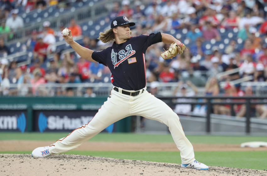 WASHINGTON, DC - JULY 15: Shaun Anderson #32 of the San Francisco Giants and the U.S. Team works the seventh inning against the World Team during the SiriusXM All-Star Futures Game at Nationals Park on July 15, 2018 in Washington, DC. (Photo by Rob Carr/Getty Images)