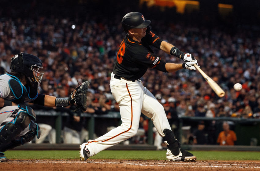 SAN FRANCISCO, CA - SEPTEMBER 14: Buster Posey #28 of the San Francisco Giants at bat against the Miami Marlins during the fourth inning at Oracle Park on September 14, 2019 in San Francisco, California. The Miami Marlins defeated the San Francisco Giants 4-2. (Photo by Jason O. Watson/Getty Images)