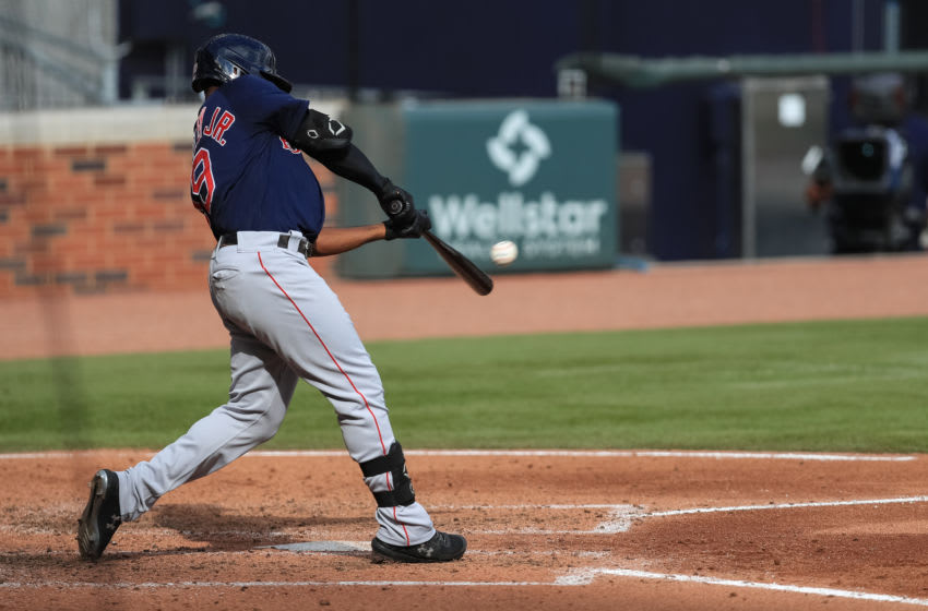ATLANTA, GA - SEPTEMBER 27: Jackie Bradley Jr. #19 of the Boston Red Sox hits a home run during the fourth inning of game against the Atlanta Braves at Truist Park on September 27, 2020 in Atlanta, Georgia. (Photo by Carmen Mandato/Getty Images)