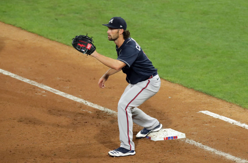 PHILADELPHIA, PA - AUGUST 10: Charlie Culberson #8 of the Atlanta Braves plays first base during a game against the Philadelphia Phillies at Citizens Bank Park on August 10, 2020 in Philadelphia, Pennsylvania. The Phillies won 13-8. (Photo by Hunter Martin/Getty Images)