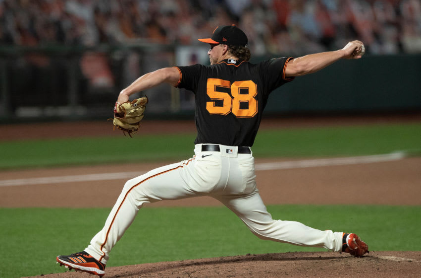 SAN FRANCISCO, CA - SEPTEMBER 05: Trevor Gott #58 of the San Francisco Giants pitches against the Arizona Diamondbacks during the seventh inning at Oracle Park on September 5, 2020 in San Francisco, California. The San Francisco Giants defeated the Arizona Diamondbacks 4-3. (Photo by Jason O. Watson/Getty Images)