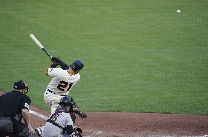 SAN FRANCISCO, CALIFORNIA - SEPTEMBER 07: Joey Bart #21 of the SF Giants hits a single against the Arizona Diamondbacks in the bottom of the six inning at Oracle Park on September 07, 2020 in San Francisco, California. (Photo by Thearon W. Henderson/Getty Images)