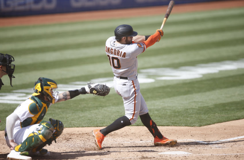 OAKLAND, CA - SEPTEMBER 19: Evan Longoria #10 of the San Francisco Giants bats during the game against the Oakland Athletics at RingCentral Coliseum on September 19, 2020 in Oakland, California. The Athletics defeated the Giants 6-0. (Photo by Michael Zagaris/Oakland Athletics/Getty Images)