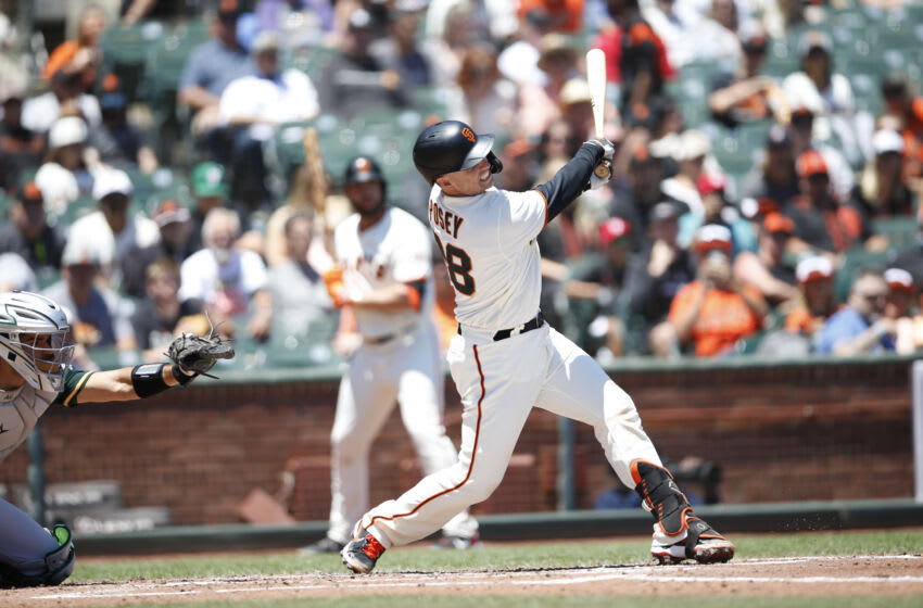 OAKLAND, CA - JUNE 27: Buster Posey #28 of the San Francisco Giants bats during the game against the Oakland Athletics at Oracle Park on June 27, 2021 in San Francisco, California. The Athletics defeated the Giants 6-2. (Photo by Michael Zagaris/Oakland Athletics/Getty Images)