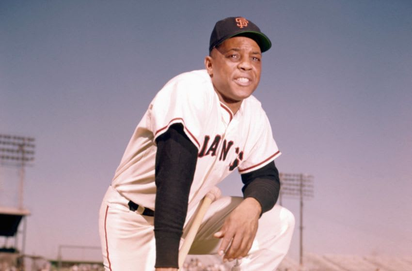 PHOENIX - MARCH, 1962: Outfielder Willie Mays #24, of the SF Giants, poses for a portrait prior to a Spring Training game in March, 1962 in Phoenix, Arizona. (Photo by: Kidwiler Collection/Diamond Images)