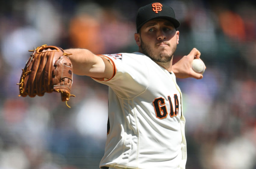 SAN FRANCISCO, CA - APRIL 08: Ty Blach #50 of the San Francisco Giants pitches against the Los Angeles Dodgers in the top of the first inning at AT&T Park on April 8, 2018 in San Francisco, California. (Photo by Thearon W. Henderson/Getty Images)