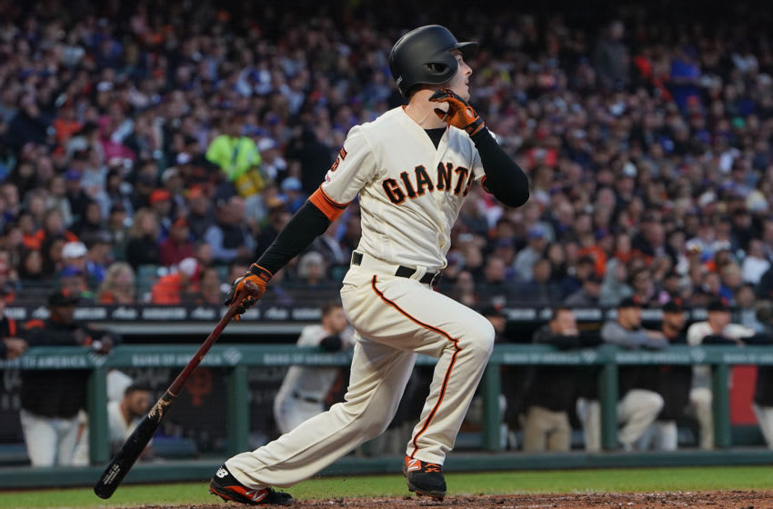 SAN FRANCISCO, CA - JULY 22: Mike Yastrzemski #5 of the San Francisco Giants hits a RBI single scoring Joe Panik #12 against the Chicago Cubs in the bottom of the fifth inning at Oracle Park on July 22, 2019 in San Francisco, California. (Photo by Thearon W. Henderson/Getty Images)