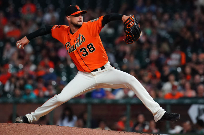 SAN FRANCISCO, CALIFORNIA - SEPTEMBER 13: Tyler Beede #38 of the San Francisco Giants pitches during the second inning against the Miami Marlins at Oracle Park on September 13, 2019 in San Francisco, California. (Photo by Daniel Shirey/Getty Images)