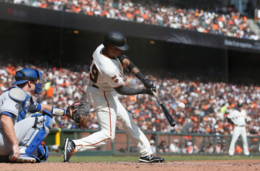 SF Giants outfielder Jaylin Davis swings. (Photo by Lachlan Cunningham/Getty Images)