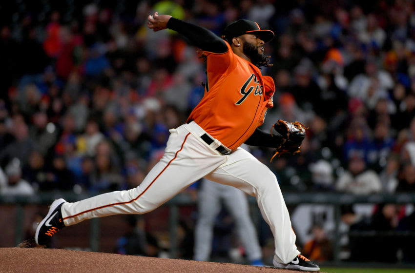 SF Giants rotation member Johnny Cueto throws a pitch. (Photo by Robert Reiners/Getty Images)